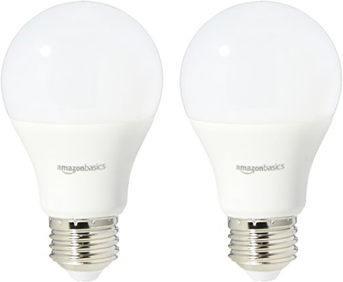 AmazonBasics 40 Watt Equivalent, Soft White, Non-Dimmable, A19 LED Light Bulb | 2-Pack