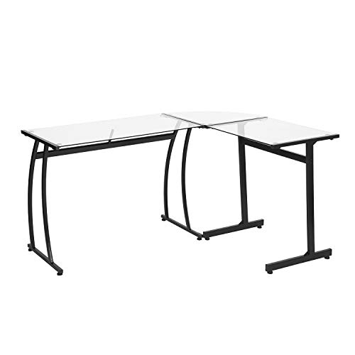HOMY CASA Computer Desk L- Shape Glass Corner Office Desk Modern Laptop Writing Gaming Table Workstation Home Office Furniture Black