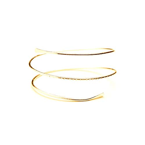 WLLAY Minimalist Gold Metal Spiral Coil Upper Arm Cuff Open Arm Bracelet Armlet Armband Bangle for Women ()