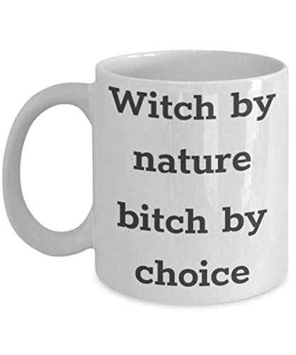 Funny Little Witch Academia Mug Witch By Nature Bitch By Choice Gift Idea For Women Men Granddaughters Wicked Good Wizard Of Oz Witchy Witchcraft Girls 11 ounce or 15oz Novelty Coffee Tea Cup ()