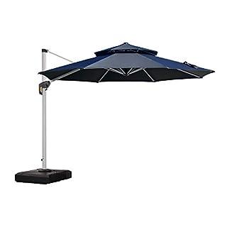 PURPLE LEAF 10 Feet Double Top Round Deluxe Patio Umbrella Offset Hanging Umbrella Outdoor Market Umbrella Garden Umbrella, Beige
