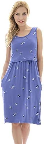 Bearsland Womens Sleeveless Maternity Dress Empire Waist Nursing Breastfeeding Dress