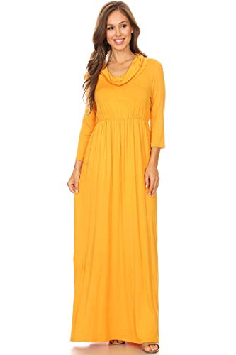 Casual Solid Color Loose Fit Cowl Neck Pleated High Waist Maxi Dress Mustard 3XL ()