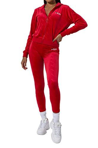 (FILA Estefania Emboss Logo Velour Legging Pants-CHINESE RED WHITE PEACOAT_M)