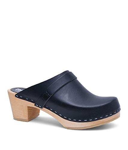 Sandgrens Swedish High Heel Wooden Clog Mules for Women, US 9-9.5   Dublin Black Veg, EU 40