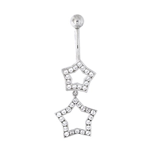 (14k White Gold Channel Set Cubic Zirconia Double Star Dangle Belly Button Navel)