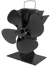Aufun 4-blads kachelventilator, stroomloze ventilator voor open haard, houtkachels, geluidsarme werking, ventilator kachelventilator voor hout-/houtbrander/open haard verhoogd (zwart)