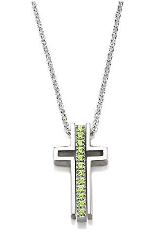 Trinity Three Part Cross Light Green Topaz Necklace Gratitude (Womens Trinity Cross)