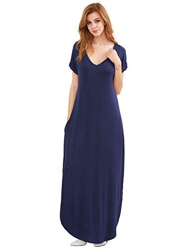 V Neck Women Verdusa Casual Navy Maxi Dress Split Long s Beach Side aUqIqrtnw