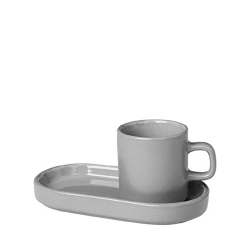blomus MIO Ceramic Espresso Cups with Trays Mirage Gray Set of 2
