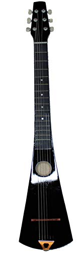 Acoustic Steel String Backpacker Travel Guitar with Bag and Strap (Black)