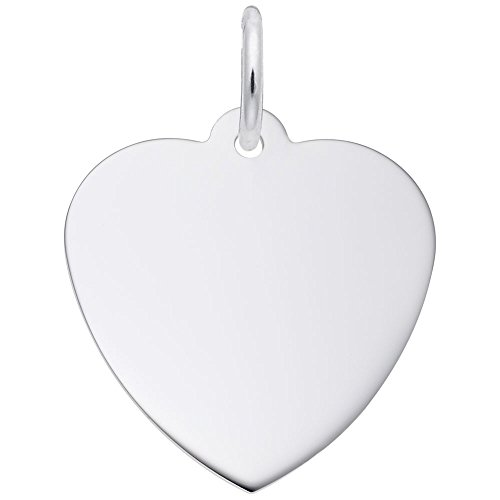 (Rembrandt Charms, Classic 3/4 in Heart.5mm Thick.925 Sterling Silver, Engravable)
