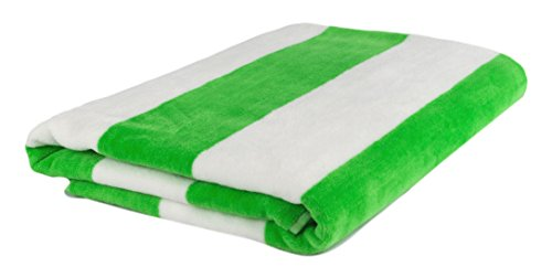 Beach Towel, Pool, Oversized, 100% Turkish Cotton, XL Extra Large Cabana Stripe Beach Towels, Soft and Absorbent, Velour Top Round Circle Loop Terry Cloth by Puffy Cotton ( Lime Green ) Set of 1 (Stripe Velour Towel)