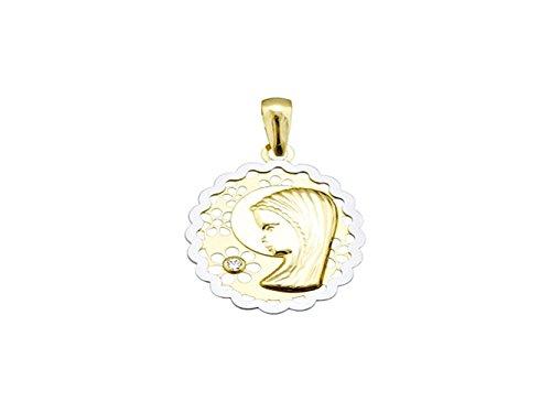 Médaille pendentif Virgin or 18k ovales fleurs bicolor hangar nina [AA4749]