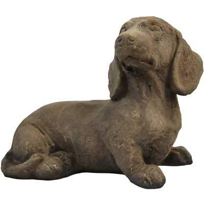 Athens Small Sausage Dog Statue, Weathered Stone