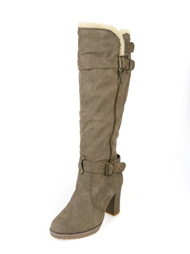Heel Ginocchio Donna Grip Hard 8 3 Winter Suola Cachi High Fur Lined Boot 00wHxrqd