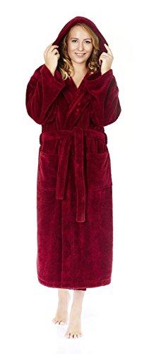 (Arus Women's Hooded Fleece Bathrobe Turkish Soft Plush Robe, Wine, L)