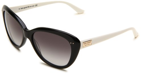 Kate Spade Women's ANGELIQS Cat Eye Sunglasses,Black & Cream Frame/Gray Gradient Lens,One Size (Kate Spade Black Cat)