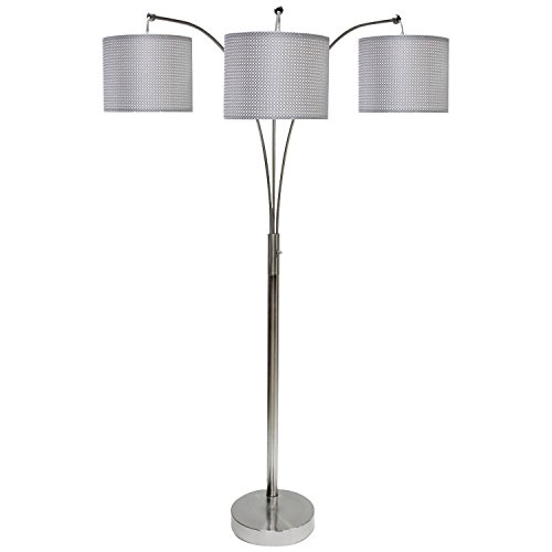 StyleCraft 64 Inch Contemporary Brushed Steel Floor Lamp 3 Arm Arc with Shades - 3 Arms Arch Lamp