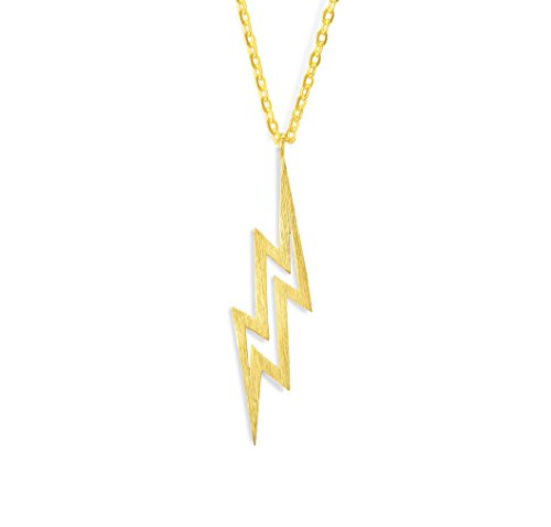 Altitude Boutique Brushed Lightning Bolt Necklace, Flash Necklace (Gold, Base)