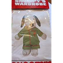 """Extremely Rare! Peanuts Snoopy's Wardrobe Outfit for 11"""" Plush Snoopy - Green Pajamas w Woodstock Embellishment"""