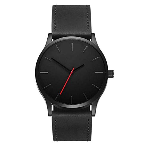 freedomer Men Watch Casual Simple Large Dial Leather Quartz Wristwatches Men Sport Watches Relogio Masculino(Black,1)