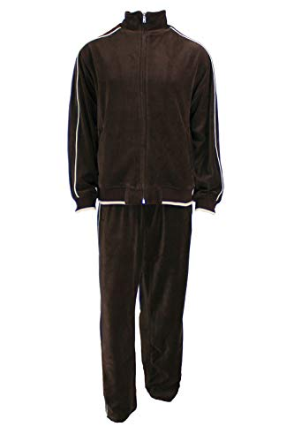 Sweatsedo Brown Men Velour Tracksuit & Warm Ups with Tan Piping (Small)