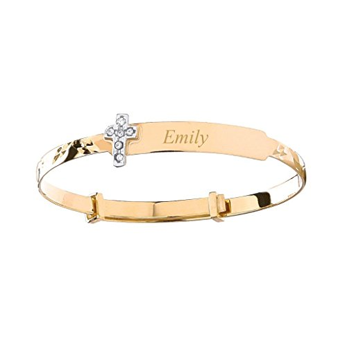 8f0233b0dce0b JQS 9ct Yellow Gold Cz Cross Baby Identity Bangle - Personalised Name &  Message