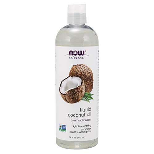 (Now Solutions, Liquid Coconut Oil, Light and Nourishing, Promotes Healthy-Looking Skin and Hair, 16-Ounce)