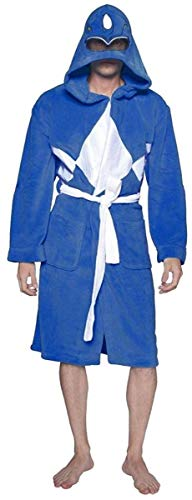 (Power Rangers Men's Mighty Morphin Robe, Blue, One)