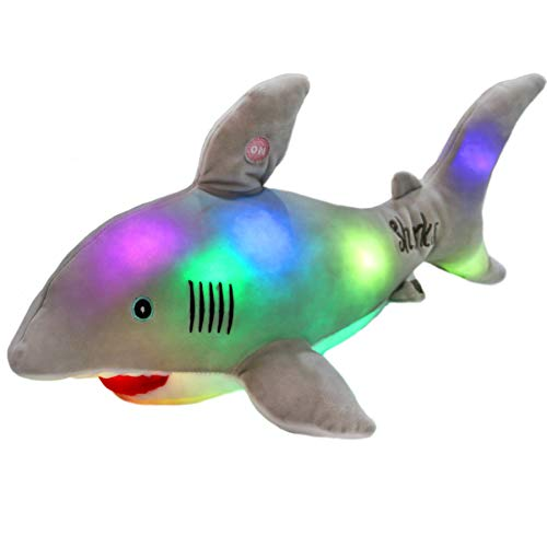 Bstaofy LED Gray Shark Stuffed Animal Glow Plush Ocean Species Toy Night Lights Gift for Kids, 20 Inches (Glow Night Light)