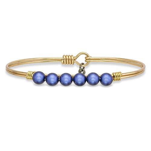 (Luca + Danni Crystal Pearl Bangle Bracelet in Blue Lapis - Regular/Brass Tone )