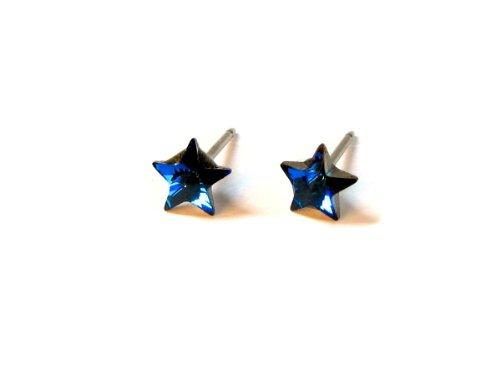 Swarovski Star Earrings (Bermuda Blue Faceted Star Swarovski Crystal Element Earrings, 5mm)