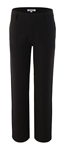 Bienzoe Boy's School Uniforms Durable Adjustable Waist Flat Front Pants Black 8 ()