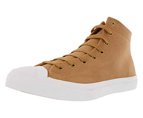 Converse Jack Purcell Leather Mid Sneakers (9 D(M) US, Raw Sugar/White)