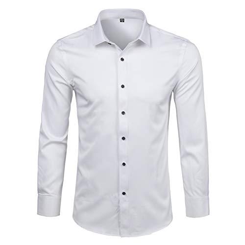 Print Prom Dresses 2005 - Nerefy Men's Bamboo Fiber Dress Shirt New Slim Fit Long Sleeve Formal for Men White