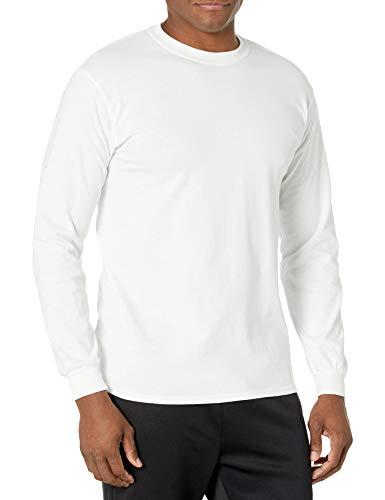 Gildan Men's Ultra Cotton Long Sleeve T-Shirt, Style G2400, White, Large