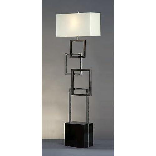 Nova Lighting Cuadros Floor Lamp, Silver/Black/White