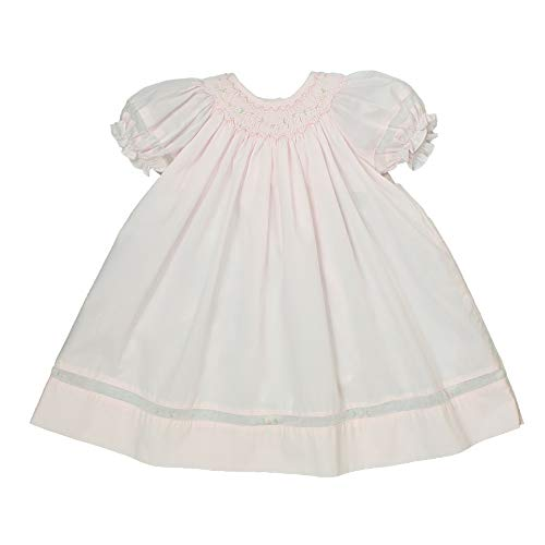 Petit Ami Baby Girls' Smocked Daygown with Voile Insert, Preemie, Pink