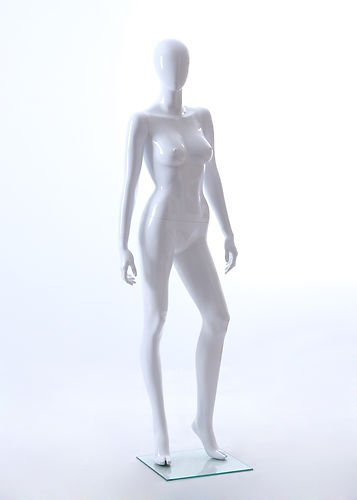 Price comparison product image Female Full Body Fiberglass Abstract Egg Head Mannequin Glossy White (AMY2E)