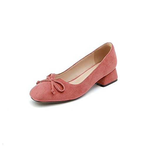Zapatos Rose Tacón Zapatos luz Cuadrada la Número por Puerto red Gran Bruto Pajarita Primavera Satén el Durante en de Otoño seguida de Cabeza de y de Diamantes un A4qwq5F
