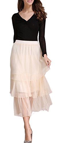 Tribear Women's Elastic Waist Layered Skirts A-line for sale  Delivered anywhere in USA