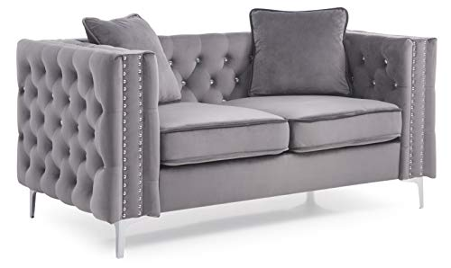 Faux Leather Tufted Loveseat - 9
