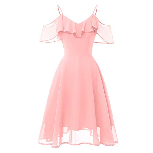 (vermers Women Vintage Princess Cami Dresses Floral Lace Cocktail V-Neck Party Aline Swing Dress Tops(S, Pink))