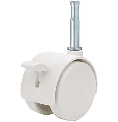 """Twin Wheel Caster Solutions TWHN-50N-G02-WH-B 2"""" Diameter Nylon Wheel Hooded Brake Caster, 5/16"""" x 1-1/2"""" Grip Neck Stem, 110 lb Capacity Range"""