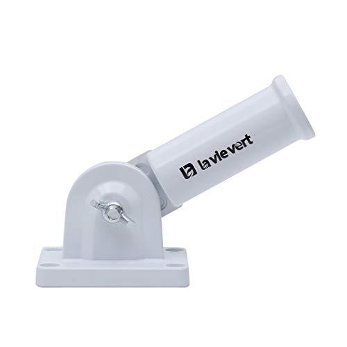 Lavievert 180° Adjustable Wall Mounting Flagpole Base Heavy Duty Aluminum Alloy Pole Bracket Holder for 1