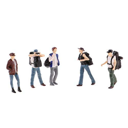 (Flameer 5PCs 1:64 Scale Resin Painted Figures, Standing People Backpackers Layout for Miniature Scenes, A)