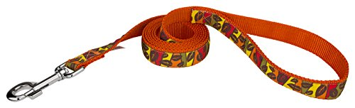 Country Brook Design | 1 Inch Fall Leaves on Orange Ribbon Dog Leash - 4 Foot ()