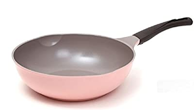 Cheftopf Larose Premium Wok, Specialty Nonstick Ceramic Coating, Aluminum Die-Casting Dishwasher Safe The Design of the Roses and the Eco-Friendly Coating 30cm Pink