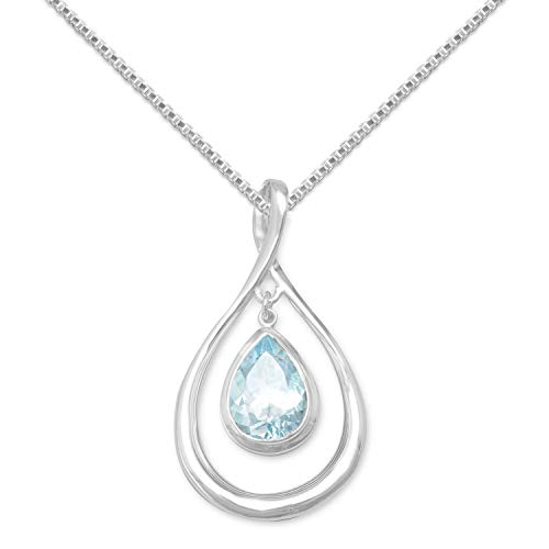 Precious Stars Jewelry Sterling Silver Pear-Shape Blue Topaz Drop Slide Pendant with 1.5mm Box Chain